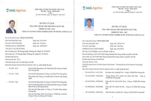 Ông Trần Bá Dương và ông Trần Bảo Sơn được đề cử vào vị trí HĐQT HNG. Nguồn: Haagrico.com.vn