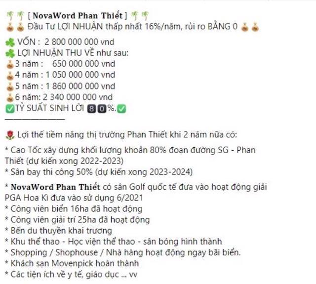 Các thông tin quảng cáo, rao bán sản phẩm BĐS tạidự án NovaWorld Phan Thiết.