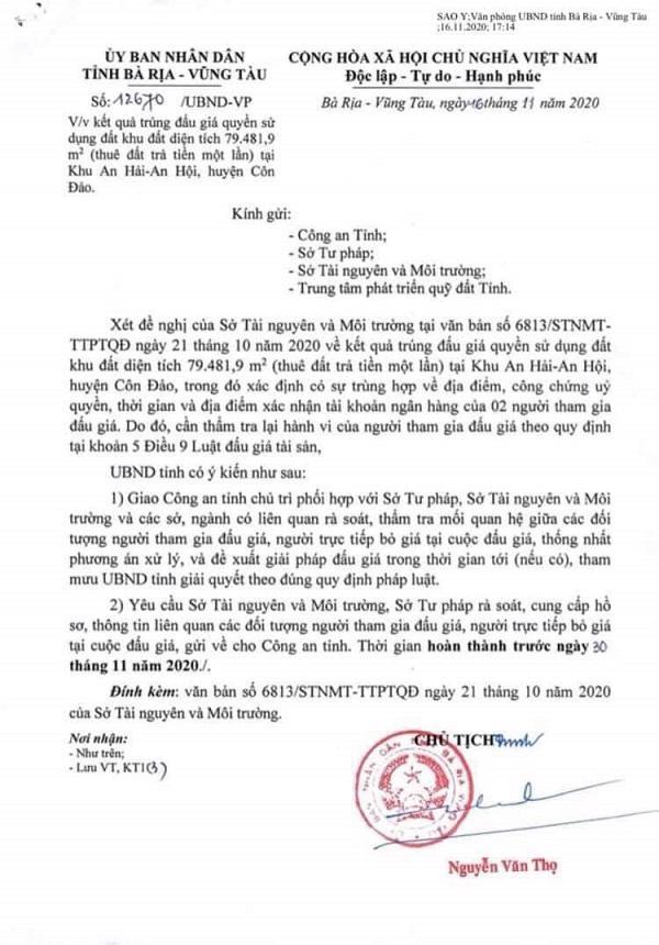 Văn bản số 12670/UBND - VP của UBND tỉnh Bà Rịa-Vũng Tàu.