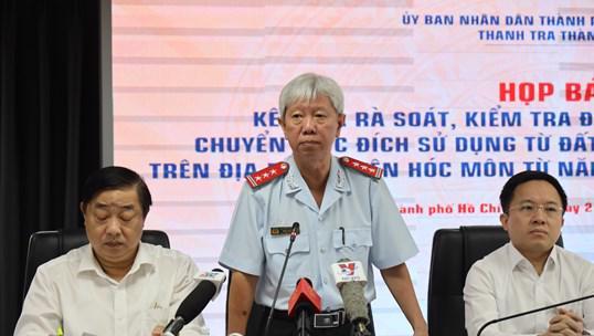 Phó chánh Thanh tra TP.HCM Trần Đình Trữ chủ trì buổi họp báo