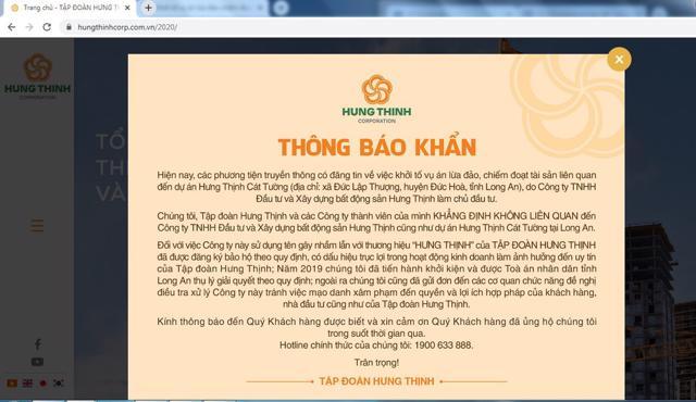 Thông bảo khẩn của Tập đoàn Hưng Thịnh.