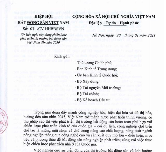 Văn bản kiến nghị của Hiệp hội Bất động sản Việt Nam.