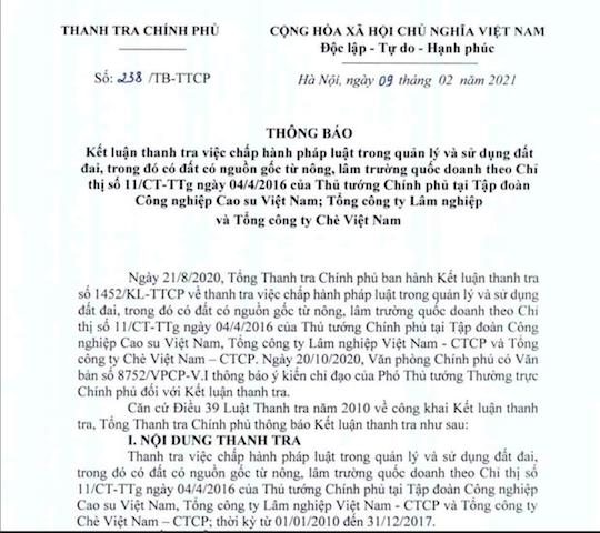 Kết luận TTCP việc chấp hành pháp luật trong quản lý và sử dụng đất đai theo Chỉ thị số 11 của Thủ tướng Chính phủ tại Tập đoàn Công nghiệp cao su Việt Nam; Tổng công ty Lâm nghiệp và Tổng công ty Chè Việt Nam.