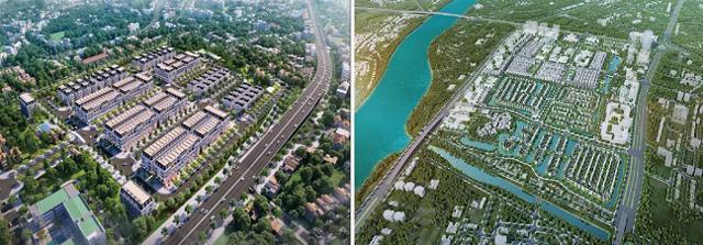 Phối cảnh 2 dự án Vinhomes Dream City (trái) và Vinhomes Cổ Loa (phải).