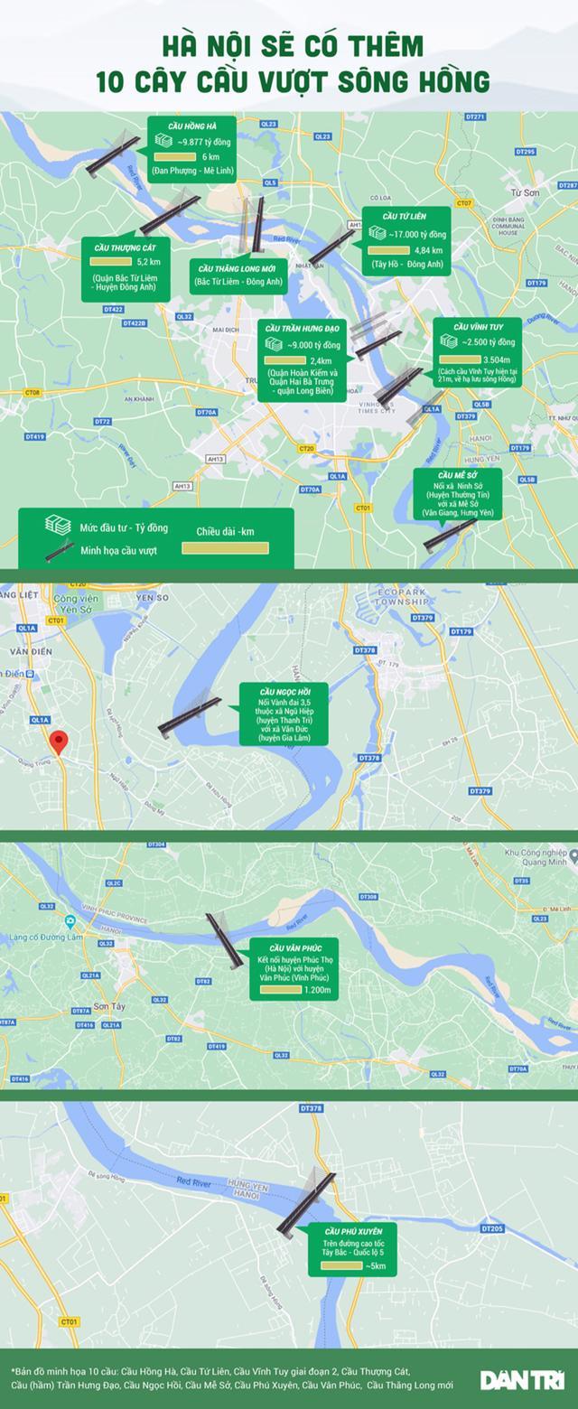 Đồ hoạ các cây cầu Hà Nội sẽ triển khai từ nay đến năm 2030. Nguồn: Dân Trí.