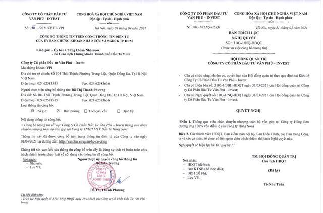 Văn bản VPI nhận chuyển nhượng toàn bộ vốn góp tại Công ty Hùng Sơn. Nguồn: Sở giao dịch Chứng khoán TP Hồ Chí Minh.