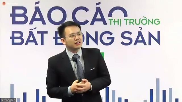 Ông Nguyễn Quốc Anh trình bày tại buổi công bố báo cáo Nghiên cứu thị trường quý 1/2021 của Batdongsan.com.vn