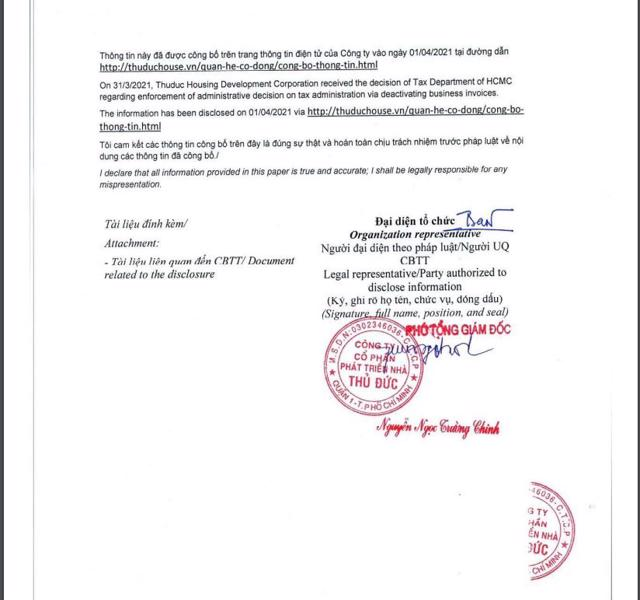 Thuduc House công bố thông tin bị cưỡng chế ngừng sử dụng hóa đơn.