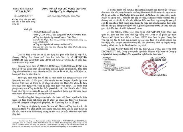 Văn bản số 460/SXD-PTĐT về việc huy động vốn, giao dịch bán nhà ở hình thành trong tương lai. Nguồn: Sở Xây dựng tỉnh Sơn La.
