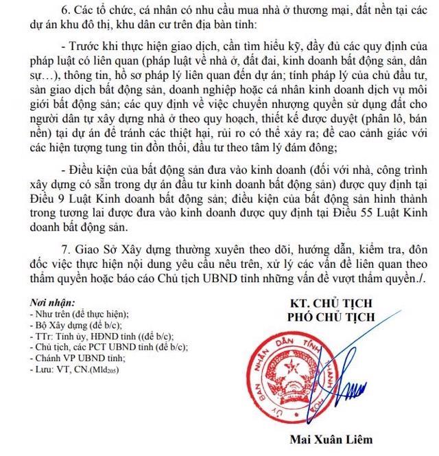 Văn bản số 4692 của UBND tỉnh Thanh Hoá về việc tăng cường công tác quản lý tình hình thị trường bất động sản trên địa bàn tỉnh.