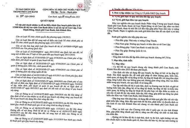 Quyết định số 337/QĐ-UBND. Nguồn: UBND TP Cam Ranh