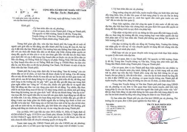 UBND Thành phố Hạ Long có công văn cảnh báo tình trạng sốt đất ảo