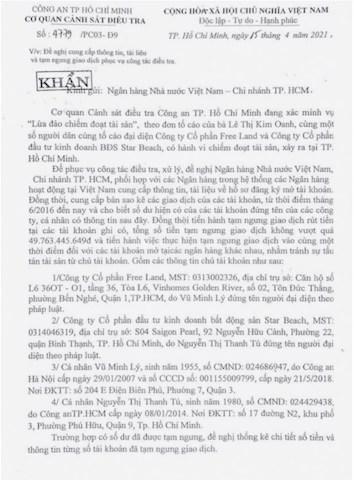 Văn bản của Cơ quan Cảnh sát điều tra – Công an TP Hồ Chí Minh.