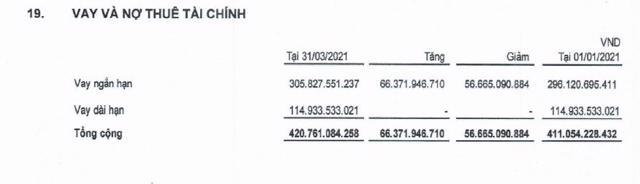 Quý 1/2021, nợ thuê tài chính ngắn và dài hạn tăng lần lượt lên gần 306 tỷ đồng và gần 115 tỷ đồng. (Nguồn: BCTC quý 1/2021).