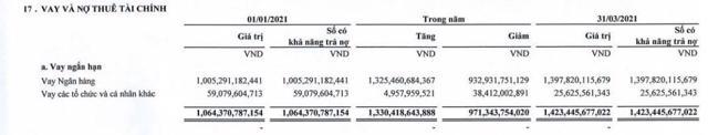Nguồn: BCTC hợp nhất quý 1/2021 tại TLH.