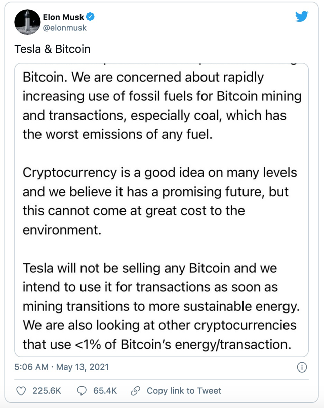 """Elon Musk """"lật kèo"""", Tesla ngừng chấp nhận thanh toán Bitcoin khi mua xe, tiền số đồng loạt mất giá - Ảnh 1"""