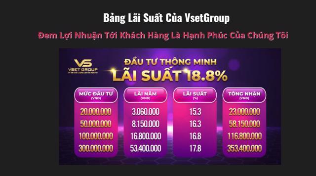 Trái phiếuVsetGroup được quảng cáo có mức lãi suất 18,8%