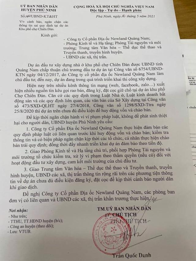 UBND huyện Phú Ninh ban hành công văn cảnh báo việc huy động vốn trái phép.