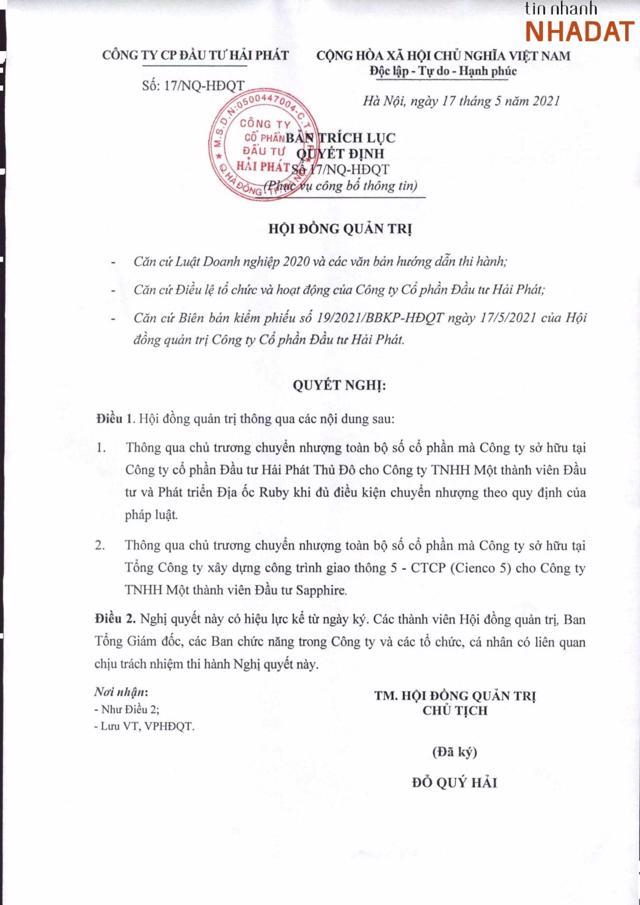 Nghị quyết số 17/NQ-HĐQT ngày 17/5/2021 của Hải Phát.