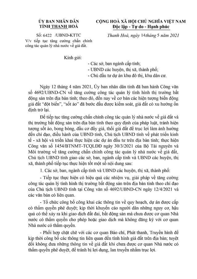 Công văn số 6422/UBND-KTTC về việc tiếp tục tăng cường chấn chỉnh công tác quản lý nhà nước về giá đất trên địa bàn tỉnh Thanh Hóa. Nguồn: Thanhhoa.gov.vn.