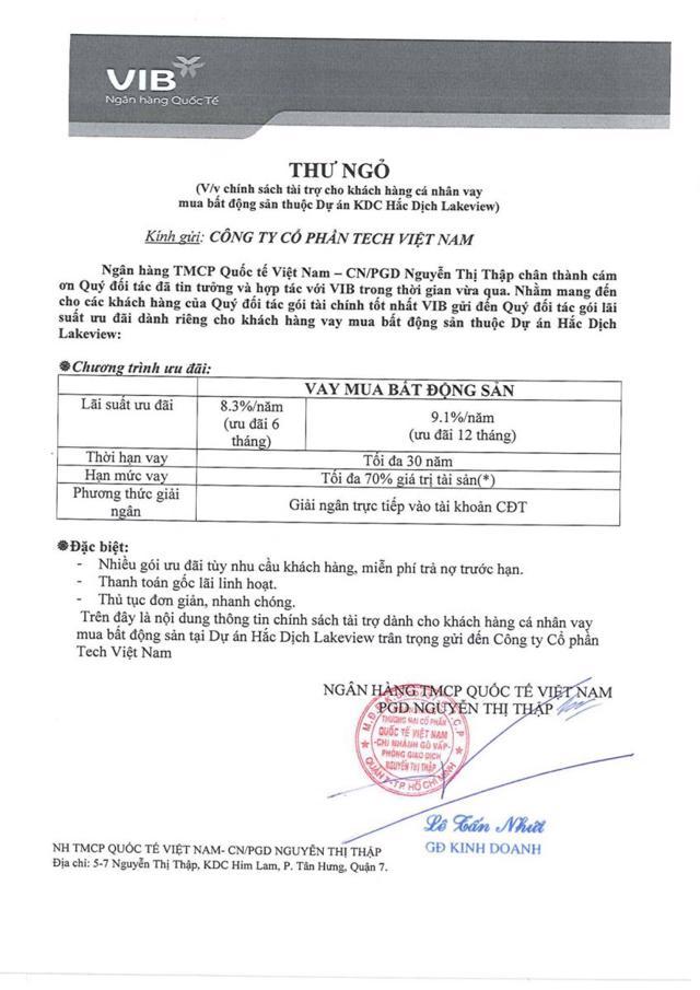 Thông báo của Ngân hàng Quốc tế, Phòng giao dịch Nguyễn Thị Thập, do Giám đốc Kinh doanh Lê Tấn Nhứt ký, được môi giới quảng cáo để bán hàng