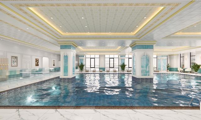 Khu bể bơi 4 mùa trên cao rộng 812m2.