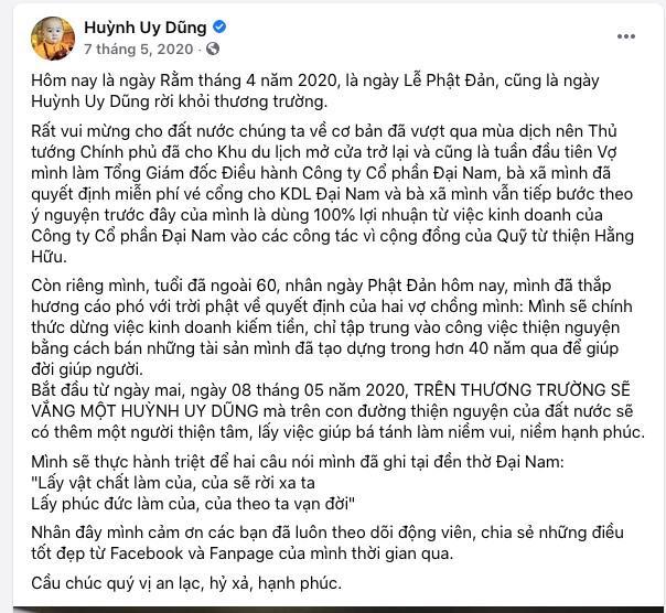 Nguồn: Tác giả cắt từ Facebook của ông Huỳnh Uy Dũng.