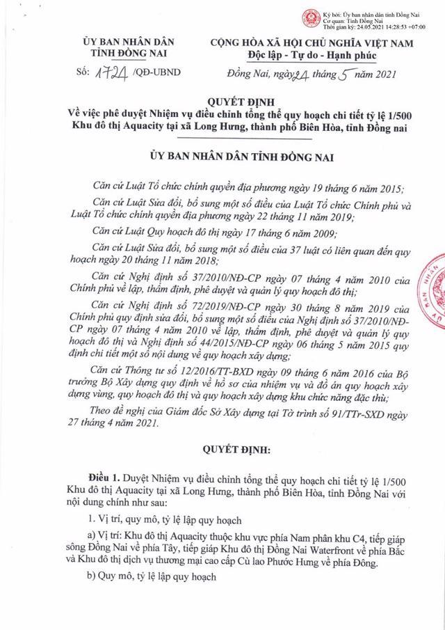 Quyết định phê duyệt nhiệm vụ điều chỉnh tổng thể quy hoạch chi tiết 1/500 KĐT Aquacity. Nguồn: Dongnai.gov.vn.