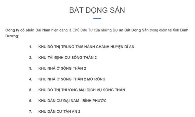 7 dự án khu dân cư do Đại Nam Corp của CEO Nguyễn Phương Hằng làm chủ đầu tư. Nguồn: Đại Nam.
