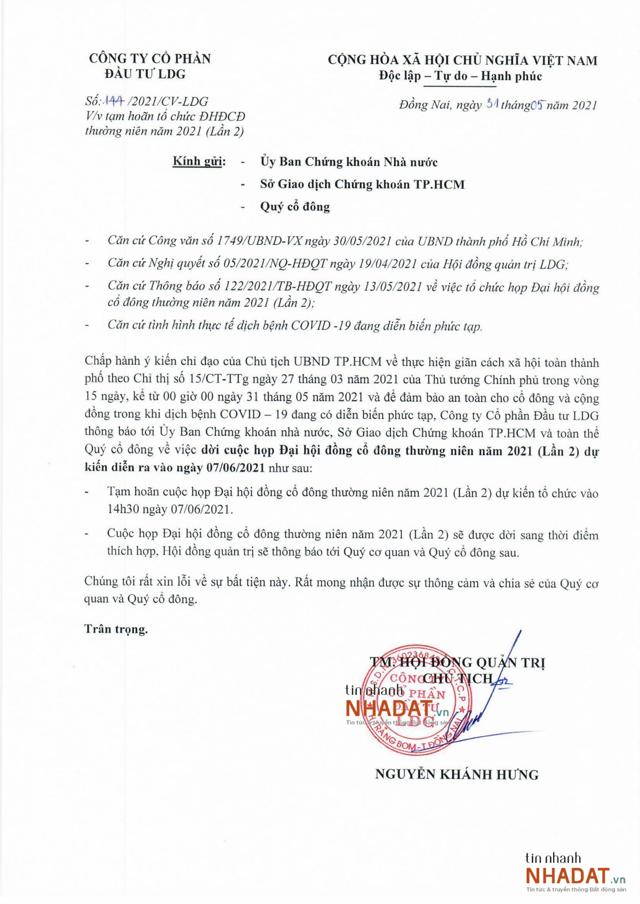 Công văn số 144/2021/CV-LDG về việc tạm hoãn tổ chức ĐHĐCĐ thường niên 2021 của LDG Group.