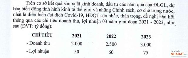 Kế hoạch kinh doanh DLG giai đoạn 2021-2023. Nguồn: Tài liệu ĐHĐCĐ DLG năm 2021.