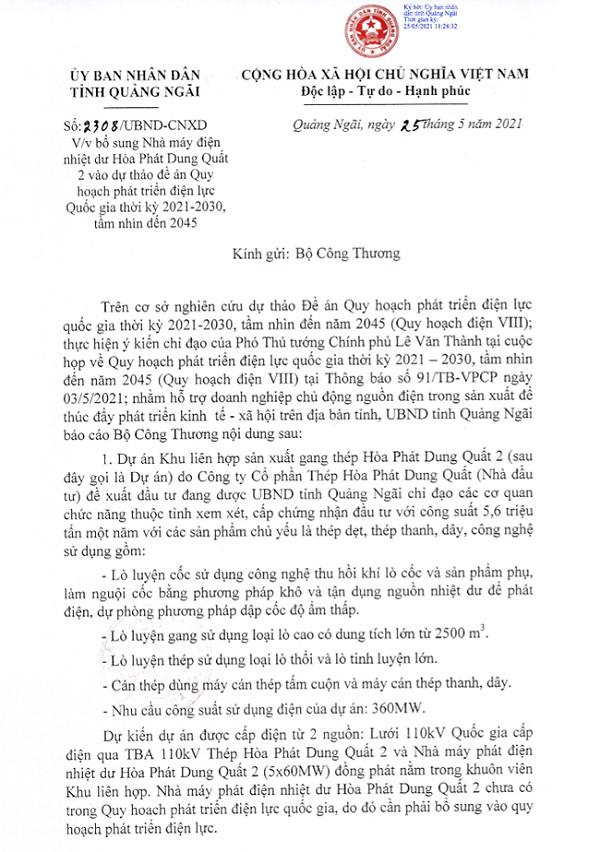 Đề xuất của UBND tỉnh Quảng Ngãi về việc bổ sung Nhà máy điện nhiệt dư Hoà Phát Dung Quất 2 vào dự thảo Quy hoạch điện VIII. – Nguồn: UBND tỉnh Quảng Ngãi.