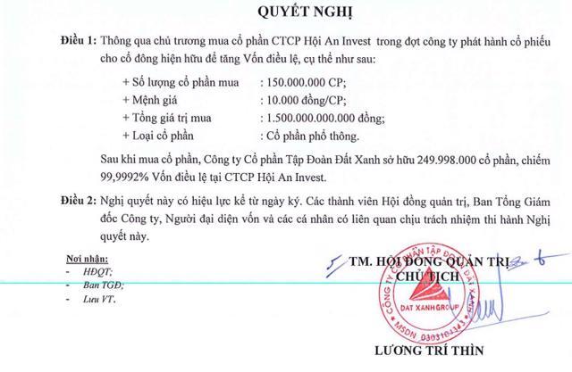 Quyết định thông qua chủ trương mua cổ phần CTCP Hội An Invest của Đất Xanh