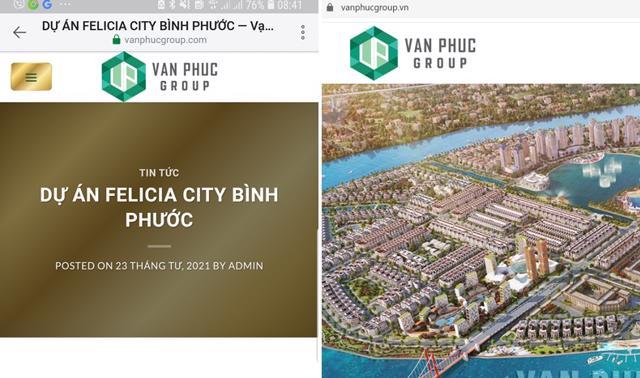 Vạn Phúc Group chỉ có website chính thức là vanphucgroup.vn còn web site vanphucgroup.comquảng cáo về dự án Felicia City Bình Phước là giả mạo