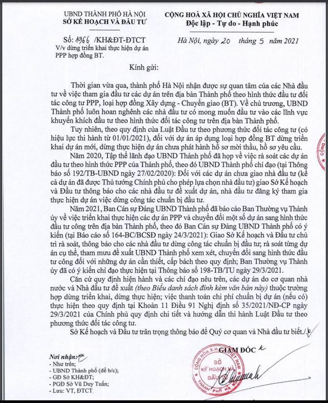 Văn bản số 1966 về việc dừng triển khai thực hiện dự án PPP theo hình thức BT