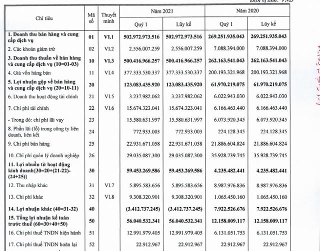 Một số chỉ tiêu tài chính quý I/2021 của DIC Corp.