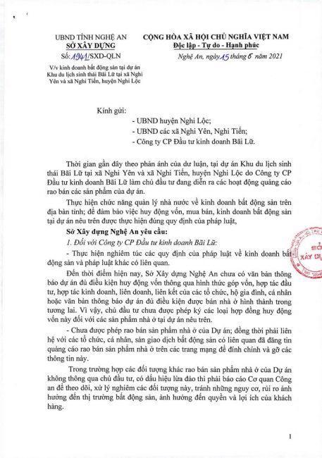 Công văn số 1941/SXD-QLN của Sở Xây dựng Nghệ An về việc dự án Meyresort Bãi Lữ đang được rao bán khi chưa đủ điều kiện. (Nguồn: UBND tỉnh Nghệ An)