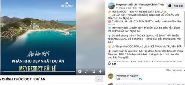 Thông tin dự án Meyresort Bãi Lữ đang được rao bán trên các trang mạng.