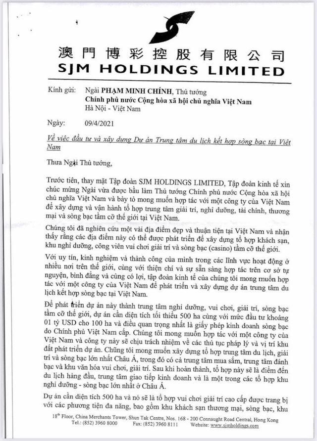 Lá thư được phát tán trên mạng về việc SJM Holdings muốn làm dự án Casino 6 tỷ USD tại Việt Nam.