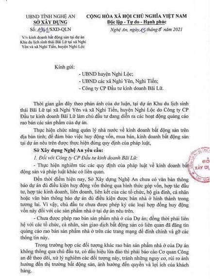 Văn bản số 1941/SXD-QLN của Sở Xây dựng Nghệ An về việc dự án Meyresort Bãi Lữ đang được rao bán khi chưa đủ điều kiện.