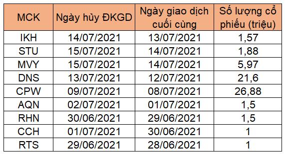 9 cổ phiếu bị hủy đăng ký giao dịch trên sàn chứng khoán từ tháng 7 - Ảnh 1