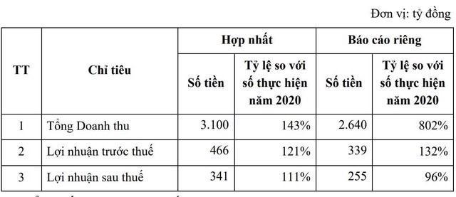 Kế hoạch kinh doanh của Văn Phú – Invest năm 2021. (Nguồn: VPI).