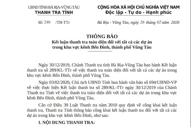 Thông báo số 240 của Thanh tra tỉnh Bà Rịa-Vũng Tàu về Kết luận thanh tra toàn diện đối với tất cả dự án trong khu vực kênh Bến Đình, TP.Vũng Tàu, dự án Khu nhà ở Decoimex mở rộng được khởi công năm 2009.