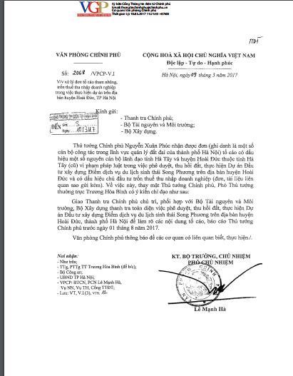 Văn phòng Chính phủ đã có văn bản chỉ đạo sau khi một số cán bộ công tác trong lĩnh vực quản lý đất đai của TP. Hà Nội có đơn tố cáo gửi Thủ tướng Chính phủ.