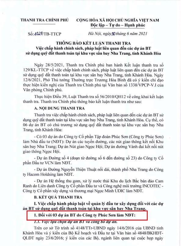 Kết luận Thanh tra đối với 3 dự án BT do Công ty Phúc Sơn làm nhà đầu tư. (Nguồn: Thanh tra Chính phủ)