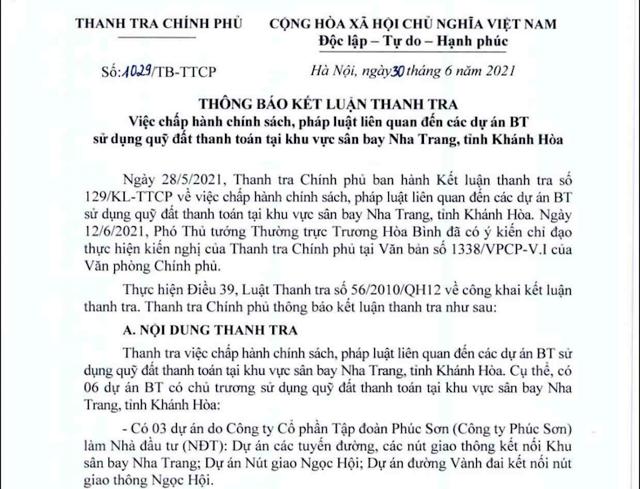 Thanh tra Chính phủ công bố Kết luận thanh tra việc chấp hành chính sách, pháp luật liên quan đến các dự án BT sử dụng quỹ đất thanh toán tại sân bay Nha Trang, Khánh Hòa.