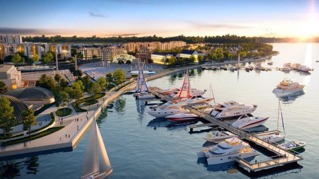 Ra mắt tổ hợp quảng trường - bến du thuyền 5 sao là bệ phóng để Aqua City khẳng định vị thế trở thành đô thị đáng sống bậc nhất khu vực và gia tăng giá trị cho dự án. Ảnh phối cảnh: Novaland.