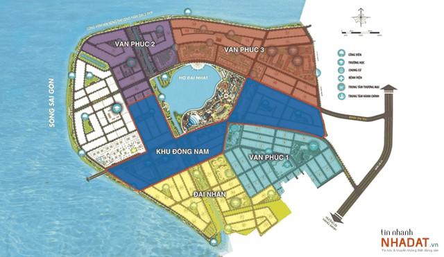 Các dự án của Vạn Phúc Group gần như chiếm trọn 'bán đảo' giáp sông Sài Gòn tại phường Hiệp Bình Phước, Quận Thủ Đức, TP. HCM