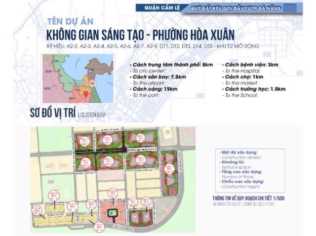 Sơ đồ toàn bộ 12 khu đất trong dự án Không gian sáng tạo phường Hòa Xuân, quận Cẩm Lệ với tổng diện tích 172.980m. (Ảnh: IPA Đà Nẵng)
