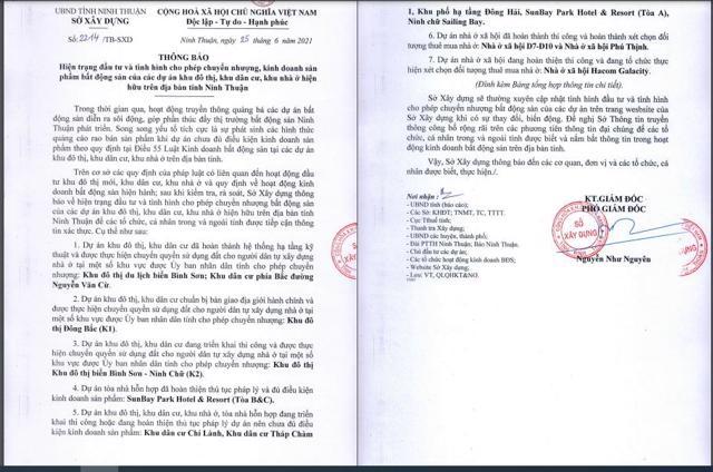 Sở Xây dựng tỉnh Ninh Thuận vừacông khai các dự án chưa đủ điều kiện mở bán